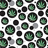 Premium Gift Wrap Wrapping Paper Roll Pattern - Marijuana Pot Weed Bud Ganja Green Mary Jane Leaf - Black